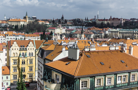 The view from  VVyshegrad rock to city of Prague in the early spring on a sunny day. Area of the old town in Prague, Czech Republic.