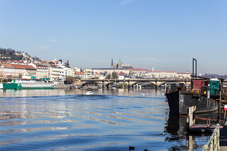 View of the Vltava River in the early spring morning. Area of the Old Town Prague, Czech Republic. Stock Photo