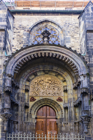 Gothic entrance  to the Church of Our Lady before Týn. The northern facade. Area of the Old Town Prague, Czech Republic. Stock Photo