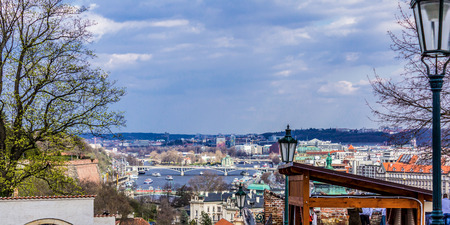 View from above from  the observation platform of the royal castle Hradcany on  the old streets. Area of the Old City. Prague, Czech Republic. Reklamní fotografie