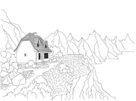 Een landhuis aan de oever van een bergmeer. Berglucht en helder water. Rust en ontspanning voor de stedeling. Stockfoto - 94907294