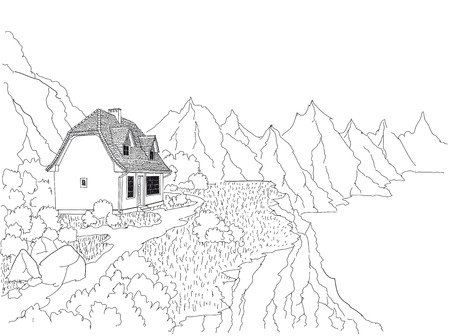 A country house on the shore of a mountain lake.Mountain air and clear water. Rest and relaxation for the urban dweller. Illustration
