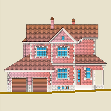 The house is built of red brick and decoration details with white stone. Classical style of the architecture of the apartment house.