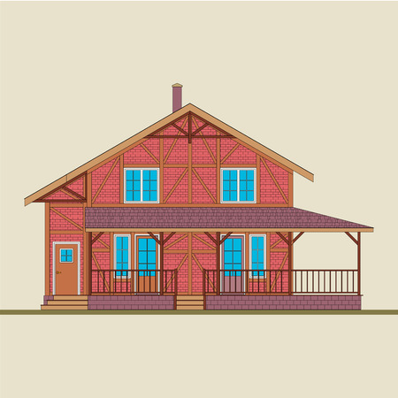 The house is built of natural wood and red brick. Illustration