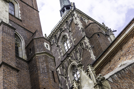 Architectural details of the cathedral in the Gothic style. Main facade,sculptures, stone decor. Cathedral of St. John the Baptist in Wroclaw, Poland.
