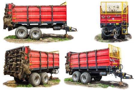 Agricultural machinery on a dairy farm. Trailer-distributor of fertilizers from cow manure and straw after working in the field. Four isolated views. Zdjęcie Seryjne