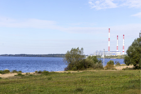 The Volga River. Central Russia.Power line and power station on the banks of the river.Background for the site about travel,electricity,power station.