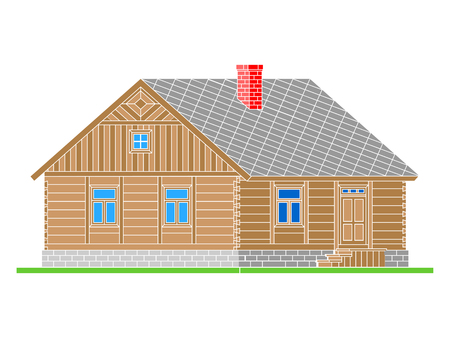 Rural house from processed logs. Angle connections with square logs. Vector illustration. Color  silhouette.