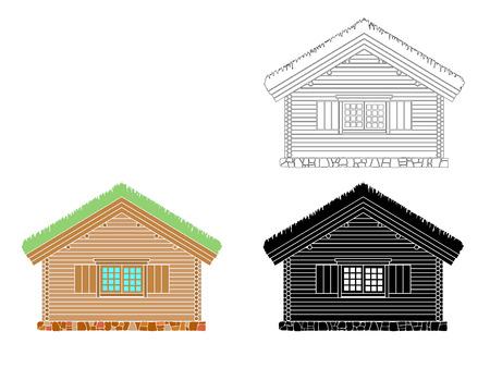 Maison traditionnelle norvégienne de rondins ronds. Le toit est recouvert de gazon. Illustration vectorielle. Silhouette noire, blanche et couleur.