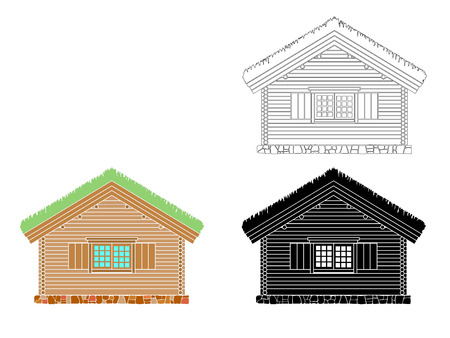 Norwegian traditional house of round logs . The roof is covered with greensward.  Vector illustration. Black,white and color silhouette.