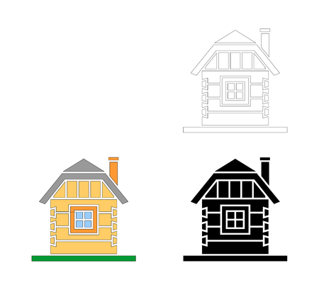 Village house of hewn logs . Angle connections with square logs. Vector illustration. Black,white, colored silhouette. 矢量图像