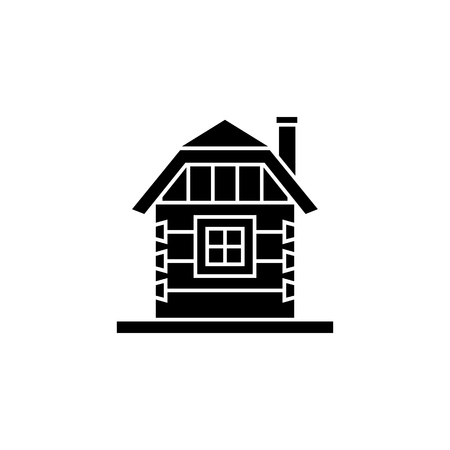 Village house of hewn logs . Angle connections with square logs. Vector illustration. Black silhouette.