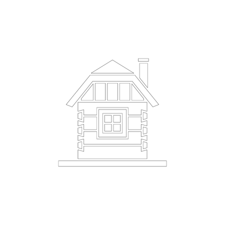 Village house of hewn logs . Angle connections with square logs. Vector illustration. White silhouette.