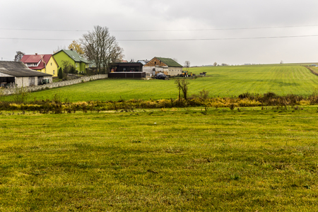 Late autumn.Green meadows around the village in the foreground.Houses and farm buildings in the background. Site about agroindustry,weather, seasons . Foto de archivo