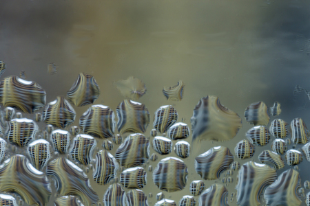Macro photo. Abstract aqua pattern as background.  Twisted reflections of a multi-storey building in drops of water.