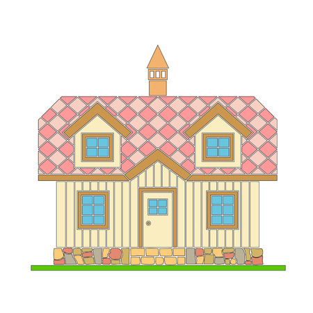 Traditional wooden house with a residential attic. The roof is covered with multicolored tiles. Vector illustration of color silhouette.