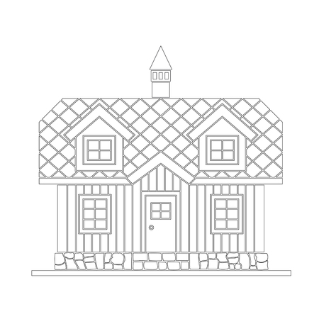 Traditional wooden house with a residential attic. The roof is covered with multicolored tiles. Vector illustration of white silhouette. Stock Illustratie
