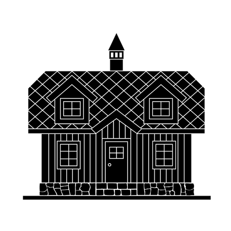 Traditional wooden house with a residential attic. The roof is covered with multicolored tiles. Vector illustration of black  silhouette.