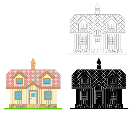 Traditional wooden house with a residential attic. The roof is covered with multicolored tiles. Vector illustration of white ,black ,color silhouette.