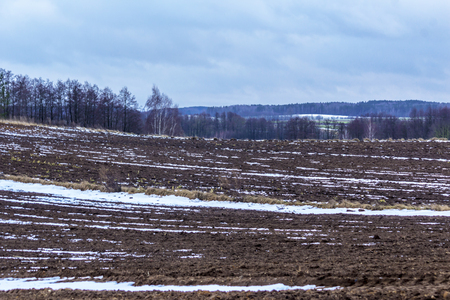 On the plowed field lies a bit of snow. Dark forest surrounds the fields. The beginning of winter in Europe.