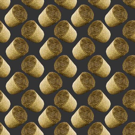 Raster seamless pattern. Bales of s straw  on a black background. Site about agriculture, farm, animal husbandry, graphics.