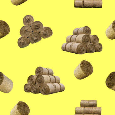 Raster seamless pattern. Straw bales and pyramids on a yellow background. Site about agriculture, farm, animal husbandry, graphics.