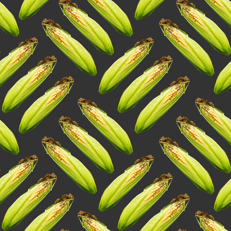 Raster cross seamless pattern. Three ears of corn on a black background. Site about agriculture, farm, animal husbandry, graphics.