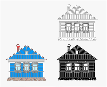 Russian traditional wooden house. The windows are decorated with wooden carved frames. Vector illustration.Black, black and white ,color silhouette.