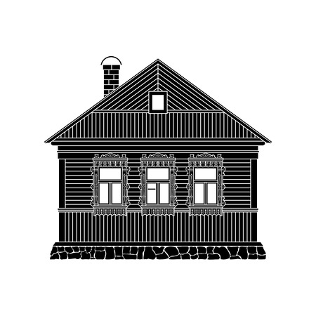 Russian traditional wooden house. The windows are decorated with wooden carved frames. Vector illustration.Black  silhouette.