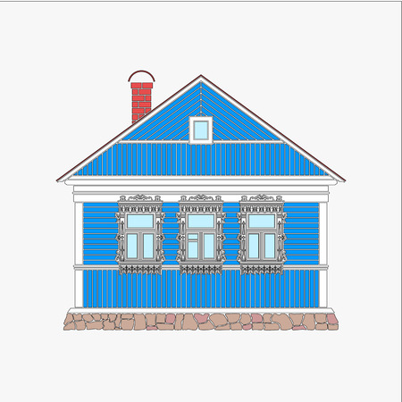 Russian traditional wooden house. The windows are decorated with wooden carved frames. Vector illustration.Color silhouette. Illustration