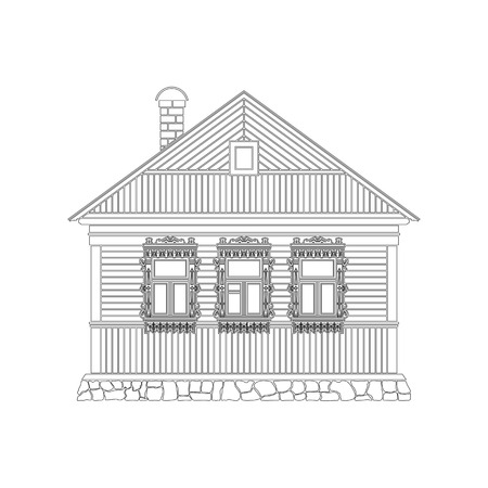 Russian traditional wooden house . The windows are decorated with wooden carved frames . Vector illustration . Black and white silhouette.