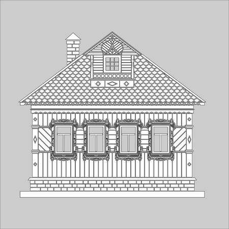 Russian traditional two-story wooden house. The windows and details are decorated with carvings. Vector illustration. Black and white silhouette.