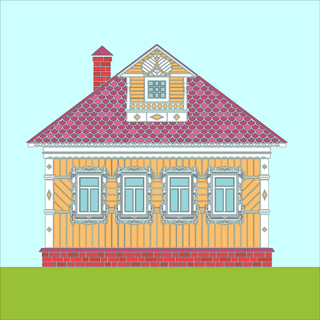 Russian traditional two-story wooden house. The windows and details are decorated with carvings. Vector illustration. Colored silhouette.