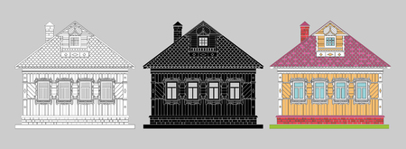 Russian traditional two-story wooden house. The windows and details are decorated with carvings. Vector . Black, black and white, colored silhouette.