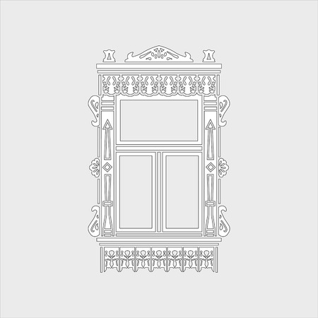 Detail of Russian traditional wooden house. Carved window platband. Vector illustration. Black and white silhouette.