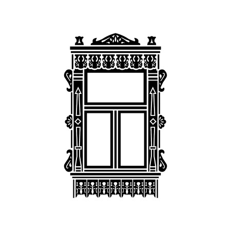 Detail of Russian traditional wooden house. Carved window platband. Vector illustration. Black  silhouette.