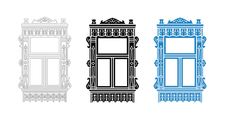 Detail of Russian traditional wooden house. Carved window platband. Vector illustration. Black, black and white, colored silhouette. Illustration