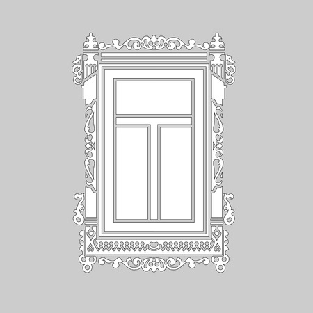 Detail of old Russian  wooden house. Carved window platband. Vector illustration. Black and white silhouette. Ilustração