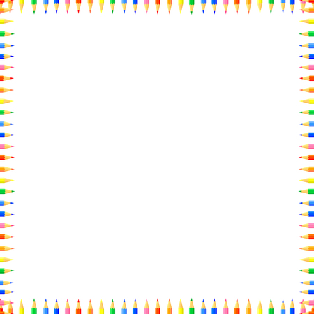 Vector colored seamless pattern. Rows of colored pencils sharpened on both sides, forming a frame. Good background site for artists,fabrics, children.