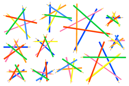 Pentagonal shapes are  crafted from pointed colored pencils. Interesting webpage for artists and children. Vector illustration.