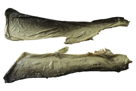 Skin peeled off on both sides of salted pink salmon. View from above.  Isolated image on a white background.A site about fish, fish and cookery.