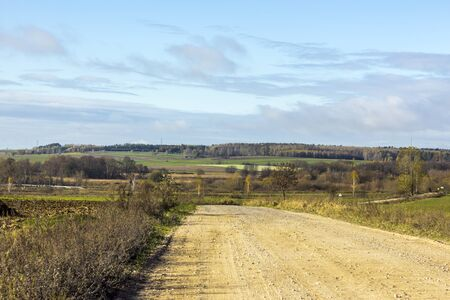 Late autumn. Green fields and forest. Gravel road in the foreground. Podlasie, Poland.