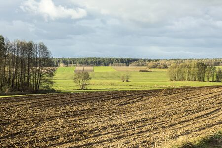Late autumn. Large plowed field.  Meadows, cultivated fields and forest in the background.  Dairy farm. Podlasie, Poland.