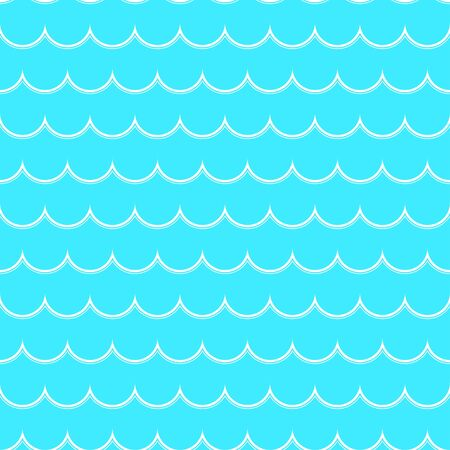 White line wave on a blue background. Seamless pattern of sea waves. Color vector illustration.