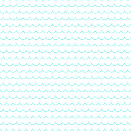 Blue line wave on a white background. Seamless pattern of sea waves. Color vector illustration.