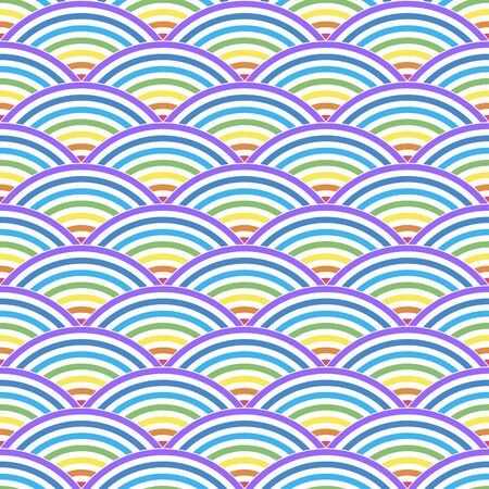 Color  line wave on a white background. Seamless pattern . Color vector illustration. Иллюстрация