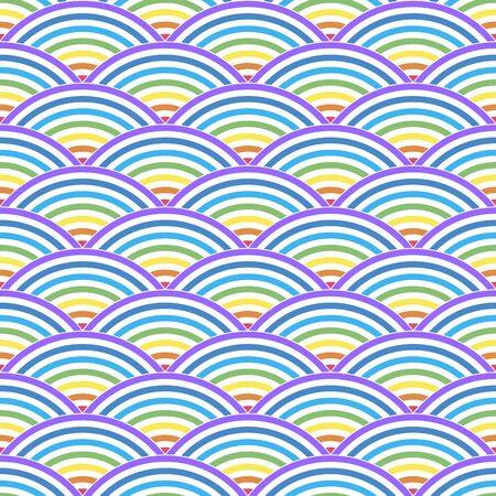 Color  line wave on a white background. Seamless pattern . Color vector illustration. Illustration