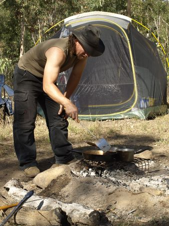 flametongue: Cooking the meal when camping in rural Australia
