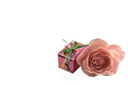 valentine rose and gift box isolated on a white background Stock Photo - 4206570