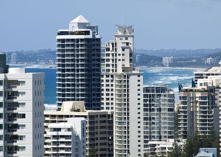 birdseye view from highrise over Gold coast holiday apartments Reklamní fotografie - 4773380